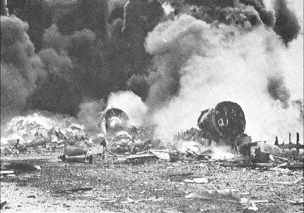 B-29s burning at Isley Field on November 27, 1944
