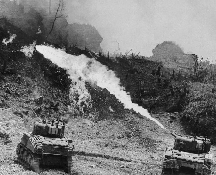 Flame tanks on Okinawa, 1945