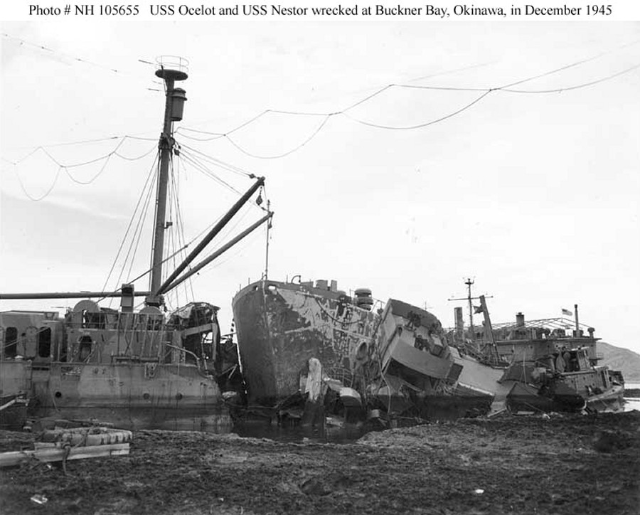 Typhoon Louise wrecks, one repair ship cut through another